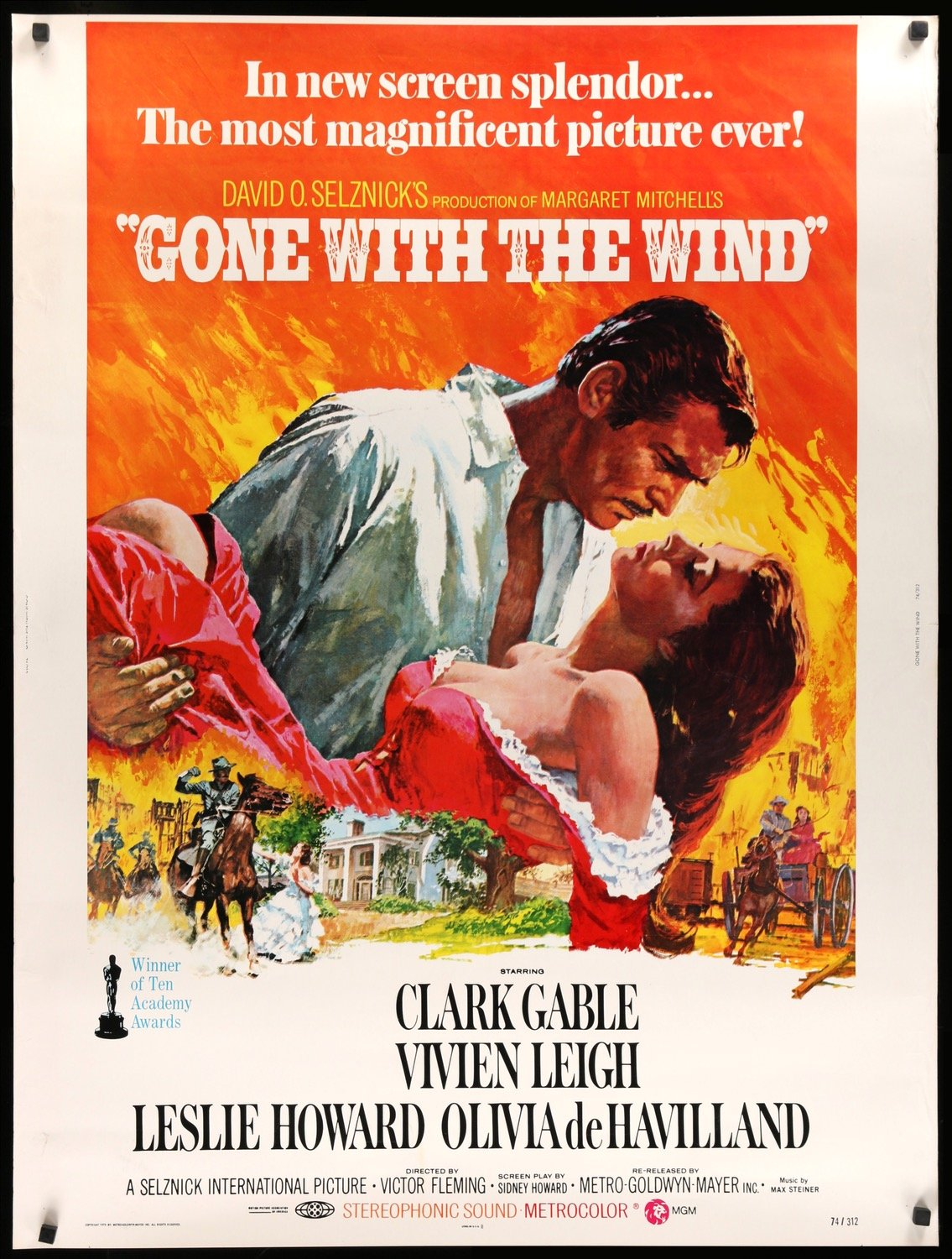 gone with the wind R74 30x40 original film art 2000x
